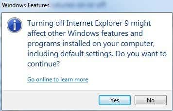 uninstall ie
