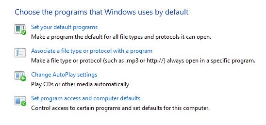 Set default programs
