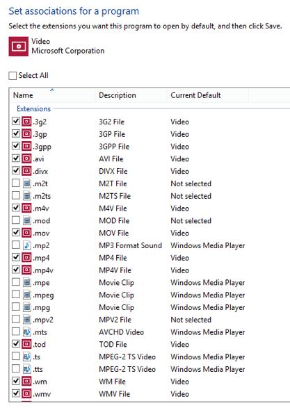 Video mt2s defaults