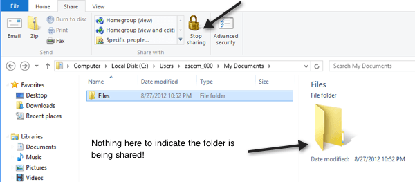 windows 8 shared folder