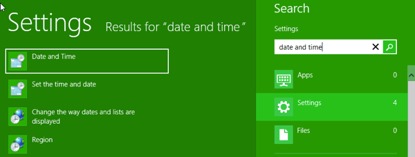 how to change date on computer windows 8