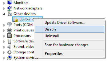 disable hardware