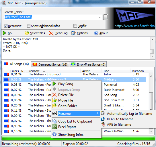 Find and Fix Damaged MP3 Files