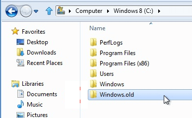 Remove Windows old Folder in Windows 8