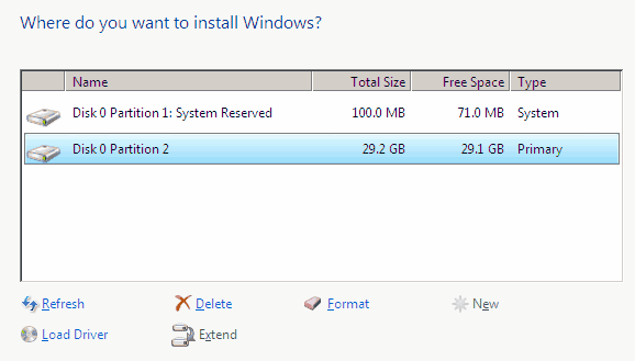 windows partitions