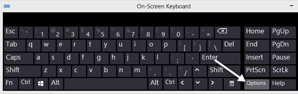 options keyboard