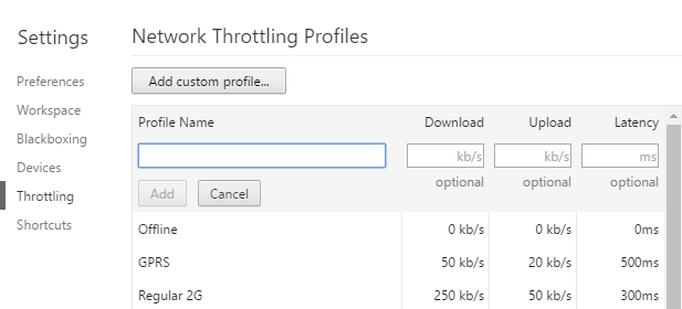 add network throttling profile