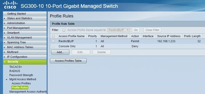 Restrict Access to Cisco Switch Based on IP Address