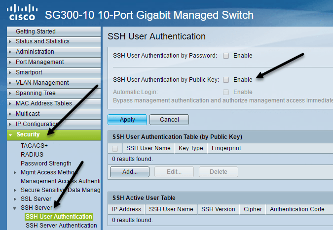 Enable Public Key Authentication for SSH on Cisco SG300 Switches