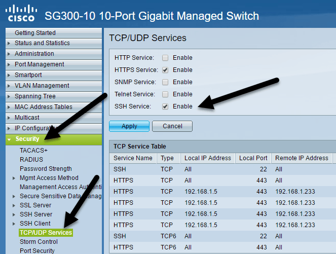 How to Enable SSH Access for Cisco SG300 Switches