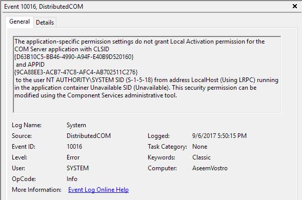 Fix Error 10016 in Windows Event Viewer