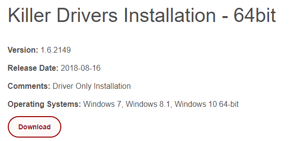 Fix Killer Ethernet Driver Stopped Working
