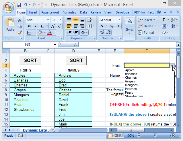 Use Dynamic Range Names in Excel for Flexible Dropdowns