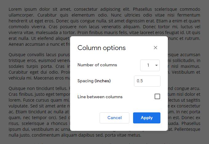 Split a Document into Columns in Google Docs