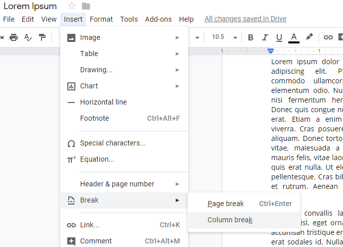 Split a Document into Columns in Google Docs