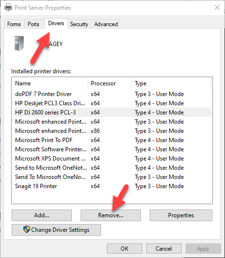 Remove or Uninstall a Printer Driver from Windows 10
