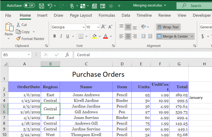 how to merge two cells in excel 2007