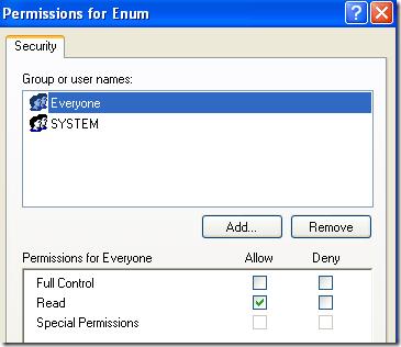 enum registry permissions