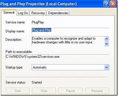 plug and play windows service