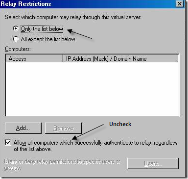 allow all computer that authenticate to relay