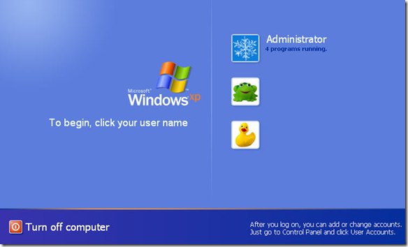 Hide user accounts from the Windows XP Welcome screen